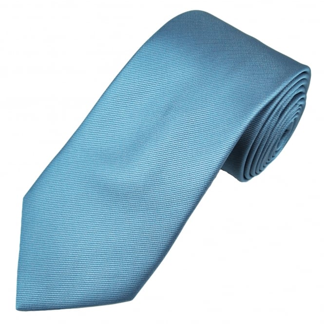 Plain Blue Ribbed Tie