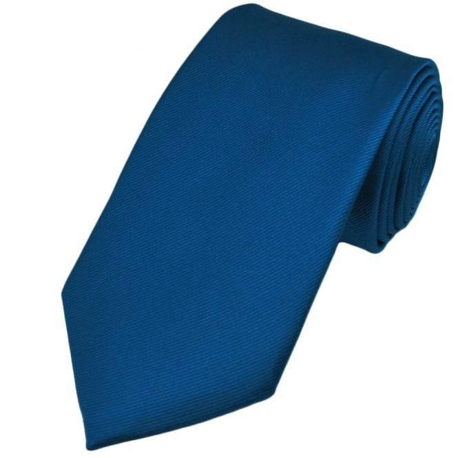 Plain Blue Silk Tie