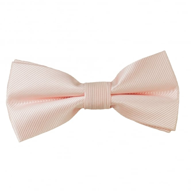 Plain Blush Ribbed Boys Bow Tie