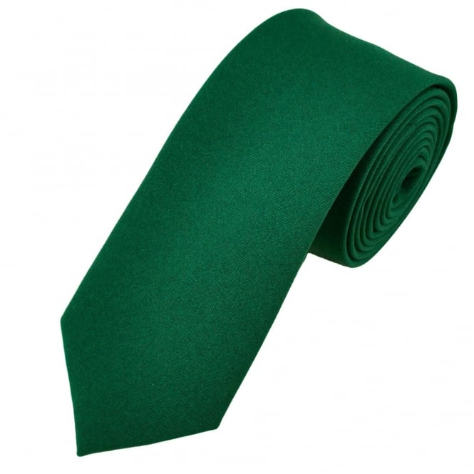 Plain Bottle Green Narrow Men's Tie