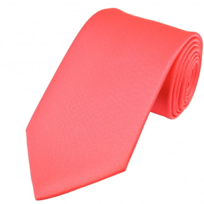 Plain Bright Coral Pink Boys Tie