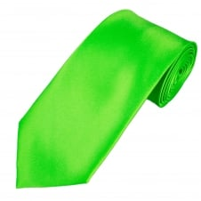 Plain Bright Green Satin Tie