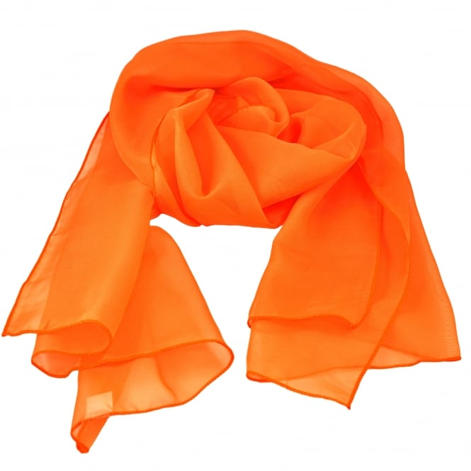 Plain Bright Orange Chiffon Scarf