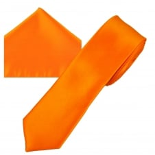 Plain Bright Orange Men's Skinny Tie & Pocket Square Handkerchief Set