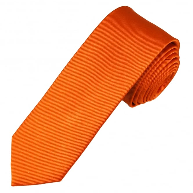 Plain Bright Orange Narrow Men's Silk Tie
