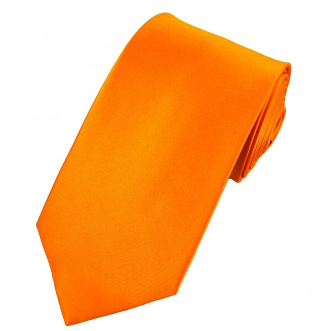 Plain Bright Orange Satin Tie