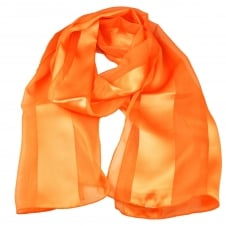 Plain Bright Orange Self Stripe Satin Scarf