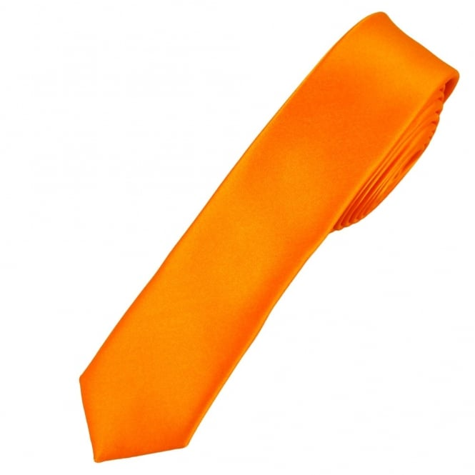 Plain Bright Orange Super Skinny Tie