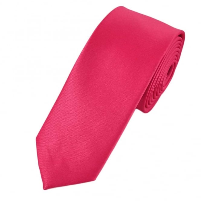 Plain Bright Pink Boys Skinny Tie