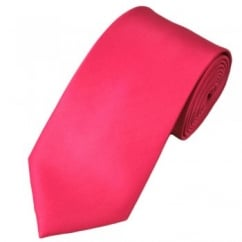 Plain Bright Pink Satin Tie