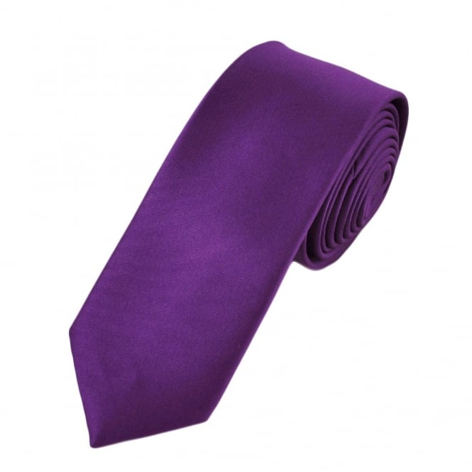 Plain Bright Purple Boys Skinny Tie