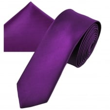 Plain Bright Purple Men's Skinny Tie & Pocket Square Handkerchief Set