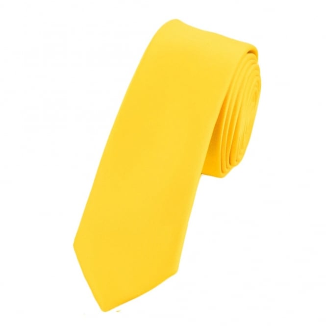 Plain Bright Yellow Boys Skinny Tie