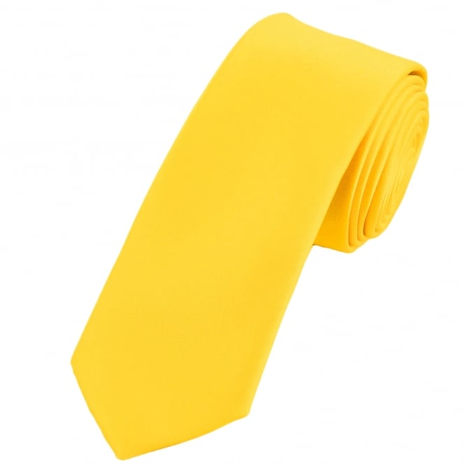 Plain Bright Yellow Extra Long Tie