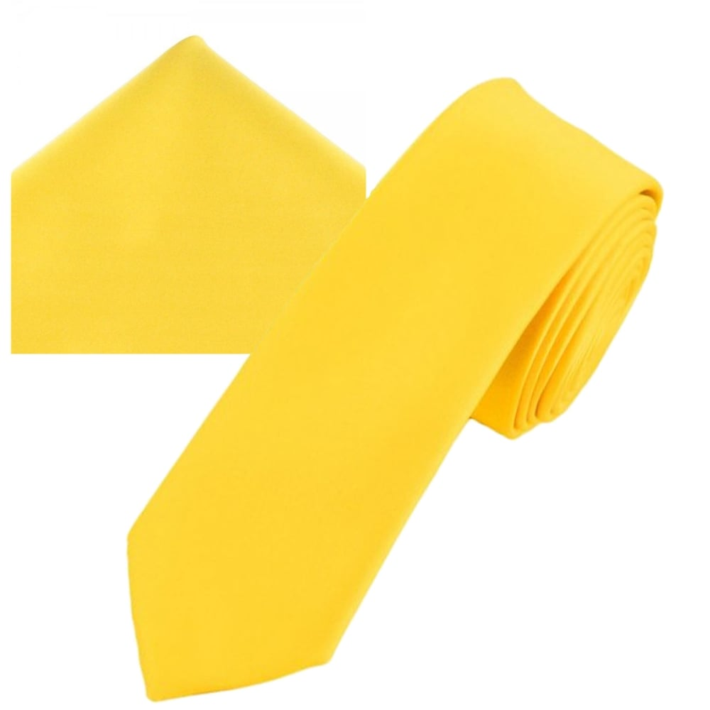 86ea32349b62 Plain Bright Yellow Men's Skinny Tie & Pocket Square Handkerchief Set from Ties  Planet UK