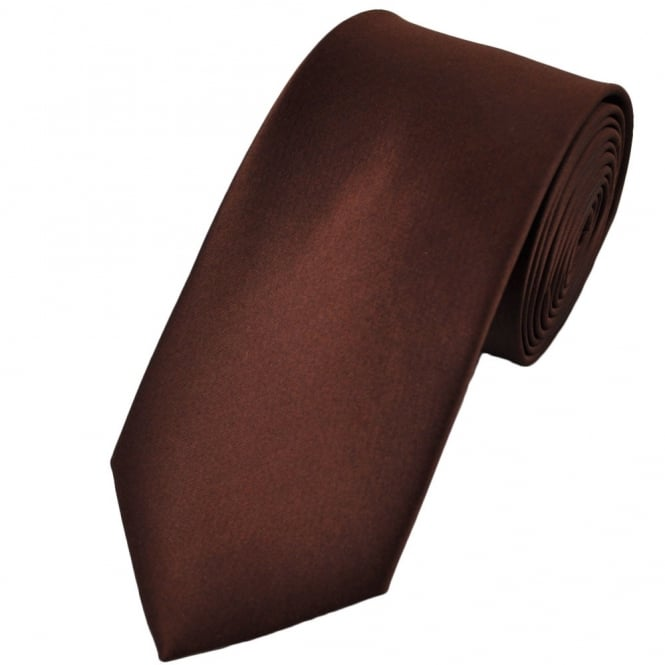 Plain Brown 7cm Narrow Tie