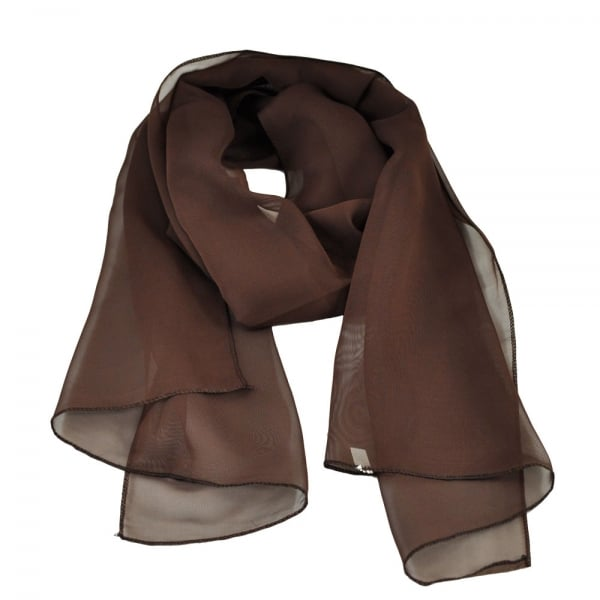 Plain Brown Chiffon Scarf From Ties Planet Uk