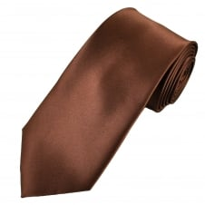 Plain Brown Men's Satin Tie