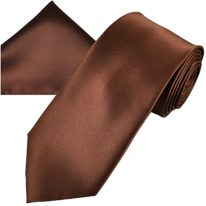 Plain Brown Men's Satin Tie & Pocket Square Handkerchief Set
