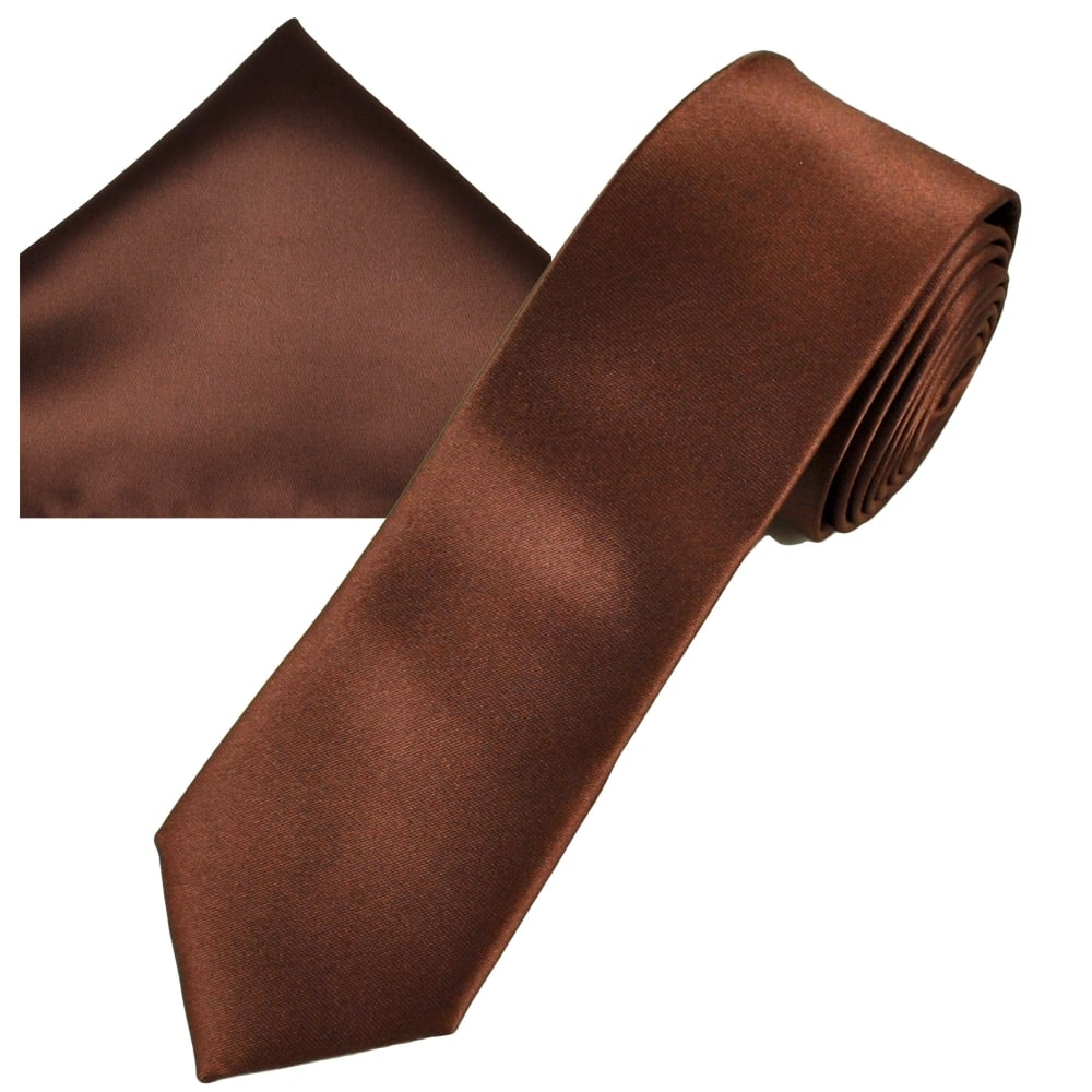 deb8a60629ea Plain Brown Men's Skinny Tie & Pocket Square Handkerchief Set from Ties  Planet UK