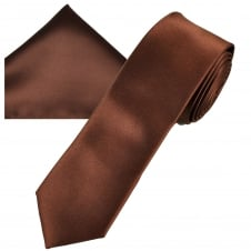 Plain Brown Men's Skinny Tie & Pocket Square Handkerchief Set