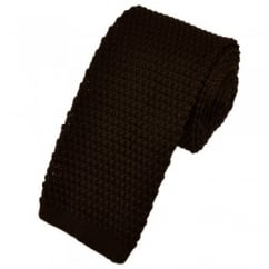Plain Brown Narrow Knitted Tie