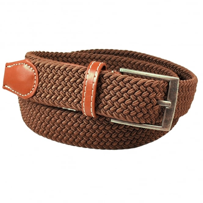 Plain Brown Woven Expandaband Belt