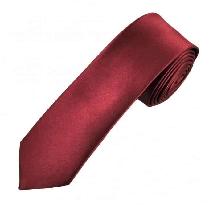 Plain Burgundy Boys Skinny Tie