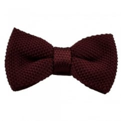 Plain Burgundy Knitted Bow Tie