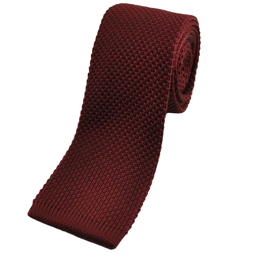 plain burgundy knitted tie from ties planet uk