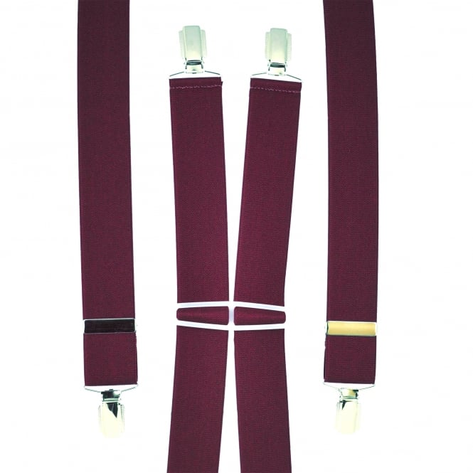 Plain Burgundy Men's Trouser Braces