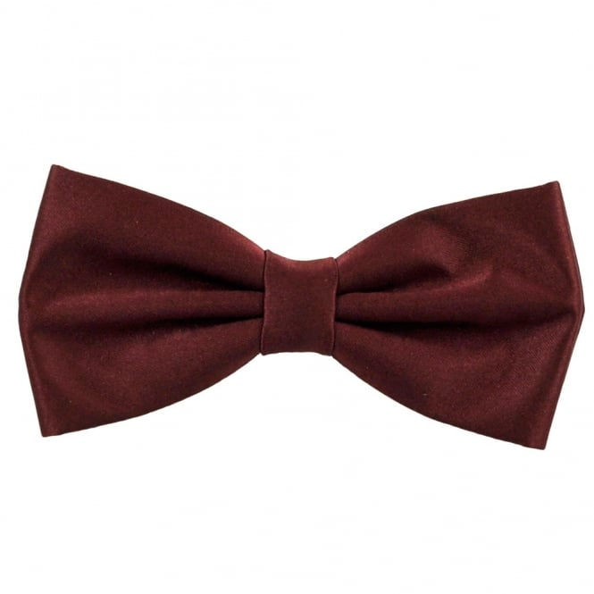 Plain Burgundy Red Bow Tie