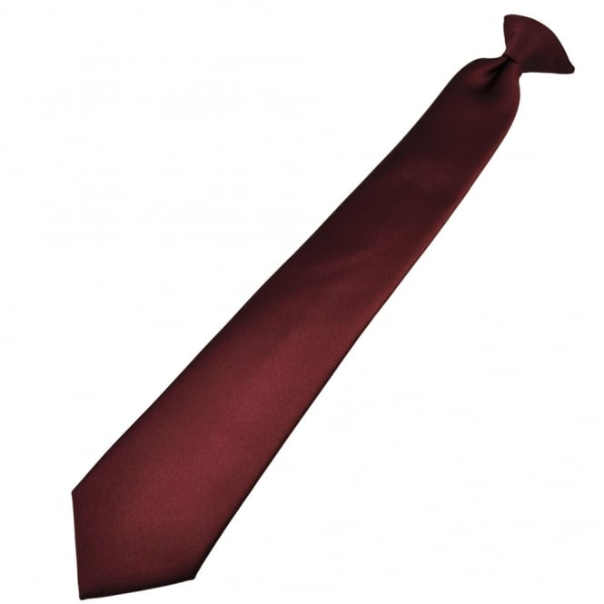 Plain Burgundy Red Clip-On Tie