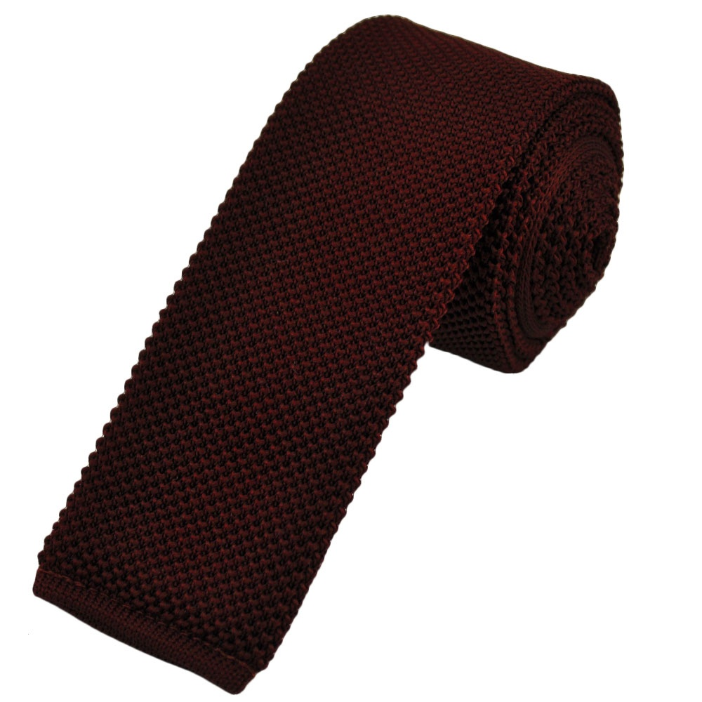 plain burgundy knitted tie by buck from