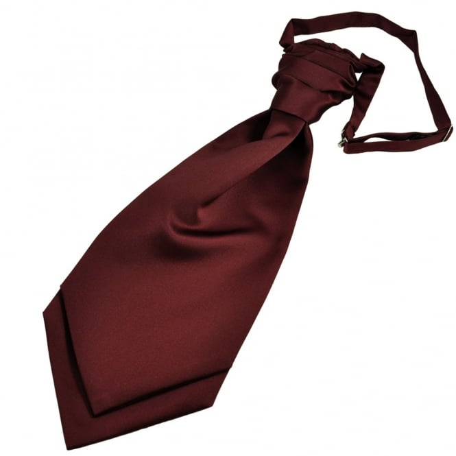 Plain Burgundy Red Men's Scrunchie Ruche Wedding Cravat
