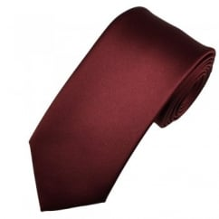 Plain Burgundy Red Satin Tie