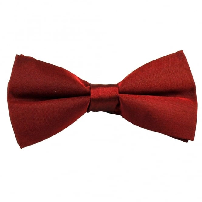 Plain Burgundy Silk Bow Tie