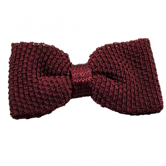Plain Burgundy Silk Knitted Bow Tie