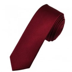 Plain Burgundy Silk Skinny Tie
