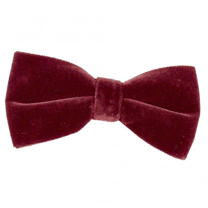 Plain Burgundy Velvet Bow Tie