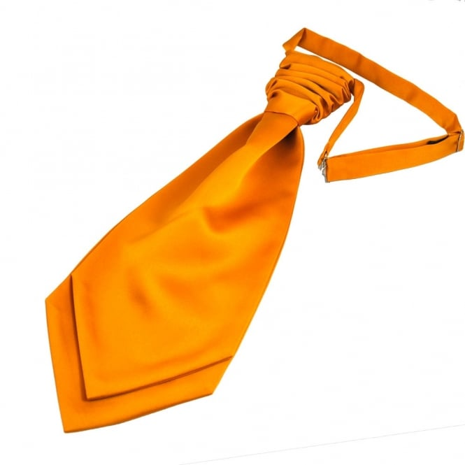 Plain Burnt Orange Gold Men's Scrunchie Wedding Cravat