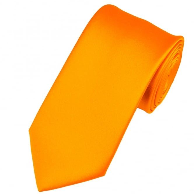 Plain Burnt Orange Gold Satin Tie