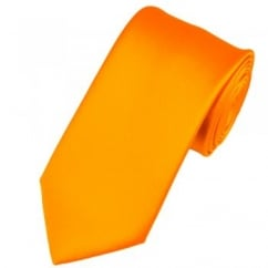 Plain Burnt Orange Gold Satin Tie
