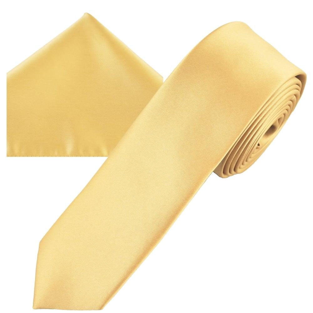 49c4a5d7d5ce Plain Caramel Gold Men's Skinny Tie & Pocket Square Handkerchief Set from  Ties Planet UK