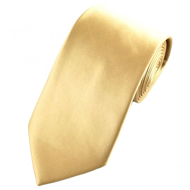 Plain Caramel Gold Satin Tie
