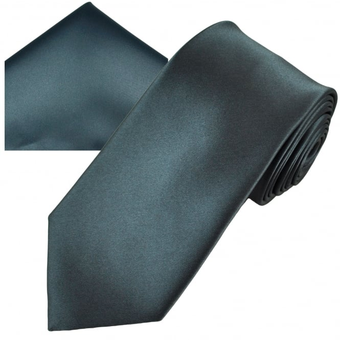 Plain Charcoal Grey Men's Satin Tie & Pocket Square Handkerchief Set