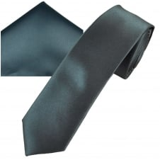 Plain Charcoal Grey Men's Skinny Tie & Pocket Square Handkerchief Set