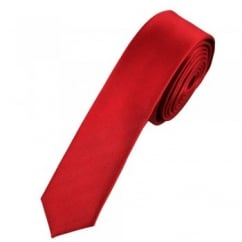 Plain Cherry Red Super Skinny Tie
