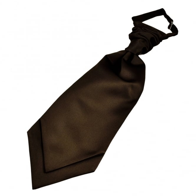 Plain Chocolate Brown Boys Scrunchie Wedding Cravat