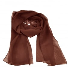 Plain Chocolate Brown Chiffon Scarf